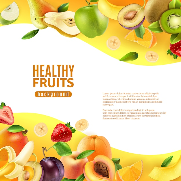 Banner di sfondo di frutti sani Vettore gratuito