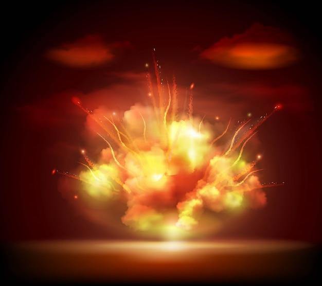 Banner di sfondo esplosione di notte Vettore gratuito