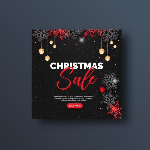 Banner di social media o volantino quadrato di vendita di natale Vettore Premium