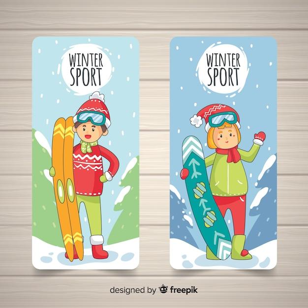 Banner di sport invernali disegnato a mano Vettore gratuito