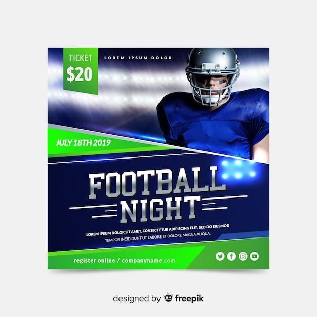Banner di sport notturno di calcio Vettore gratuito