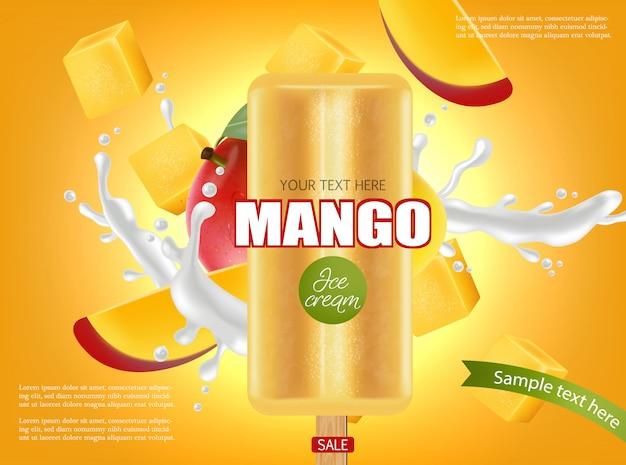 Banner di spruzzata di gelato al mango Vettore Premium