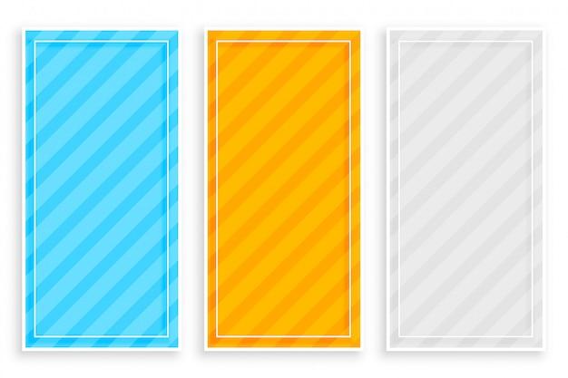 Banner di strisce diagonali in grassetto set di tre Vettore gratuito