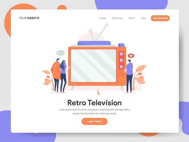 Banner di televisione retrò della landing page Vettore Premium
