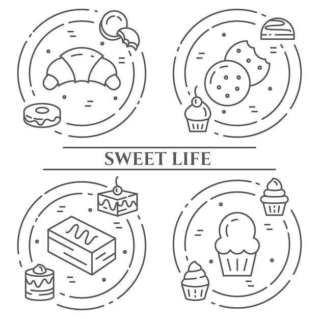 Banner di tema di torte e biscotti Vettore Premium