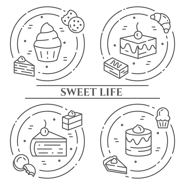 Banner di tema di torte e biscotti. Vettore Premium