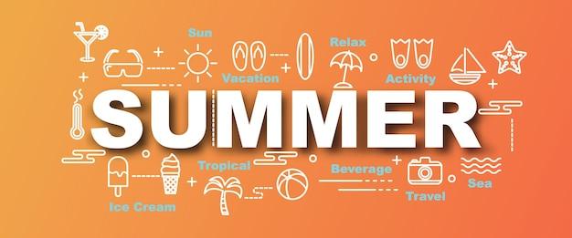 Banner di tendenza di vettore di estate Vettore Premium