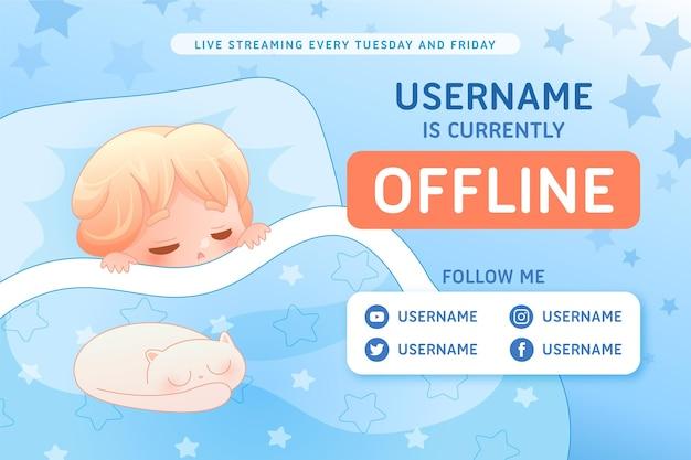 Banner di twitch offline carino con personaggio di ragazzo Vettore gratuito