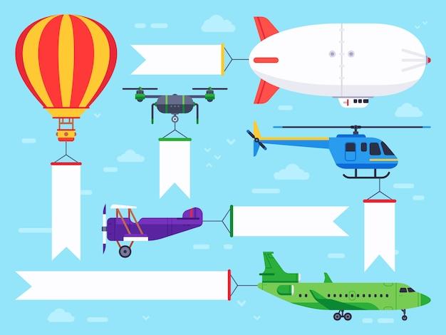 Banner di veicoli aerei. segno dell'elicottero di volo, messaggio dell'insegna dell'aeroplano ed insieme piano dell'annuncio dell'annuncio dello zeppelin Vettore Premium