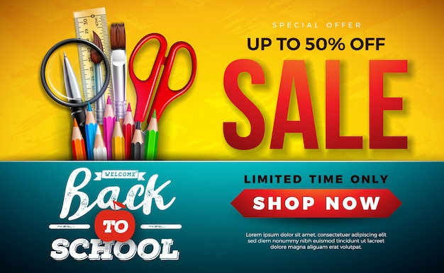 Banner di vendita a scuola con matita colorata, pennello e forbici su giallo Vettore gratuito