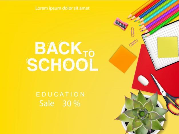 Banner di vendita a scuola per sconti e offerte sull'istruzione Vettore Premium