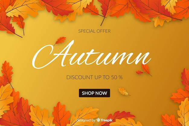 Banner di vendita autunno design piatto Vettore gratuito