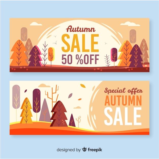 Banner di vendita autunno disegnato a mano Vettore gratuito