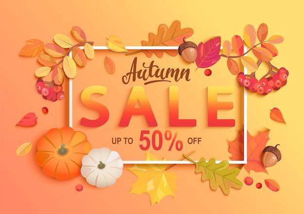 Banner di vendita autunno oro. Vettore Premium
