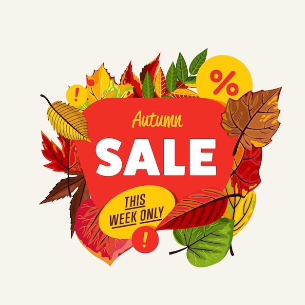 Banner di vendita autunno Vettore Premium