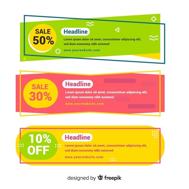 Banner di vendita colorate geometriche Vettore gratuito