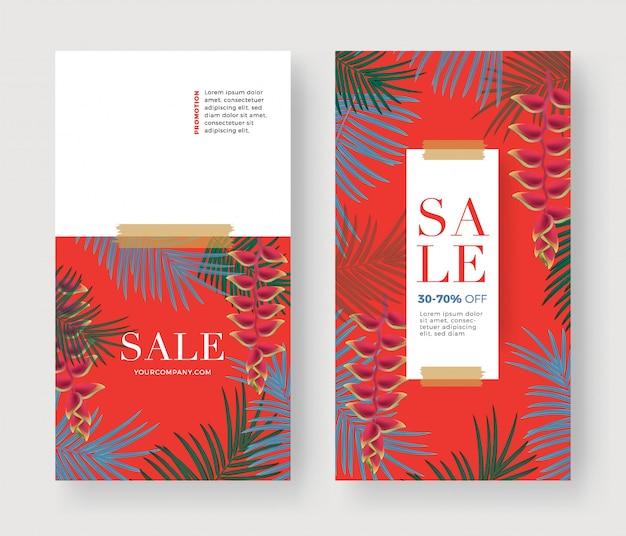 Banner di vendita con palmo Vettore Premium