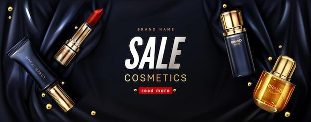Banner di vendita con prodotti cosmetici su seta nera Vettore gratuito