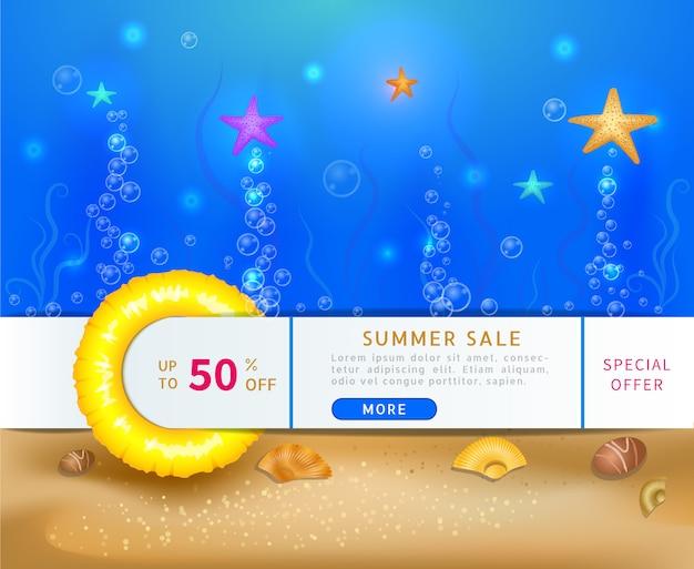 Banner di vendita con scena oceanica sott'acqua profonda con stelle marine e bolle Vettore Premium