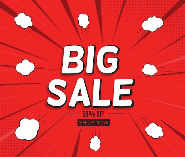Banner di vendita con speech bubble in stile pop art Vettore Premium