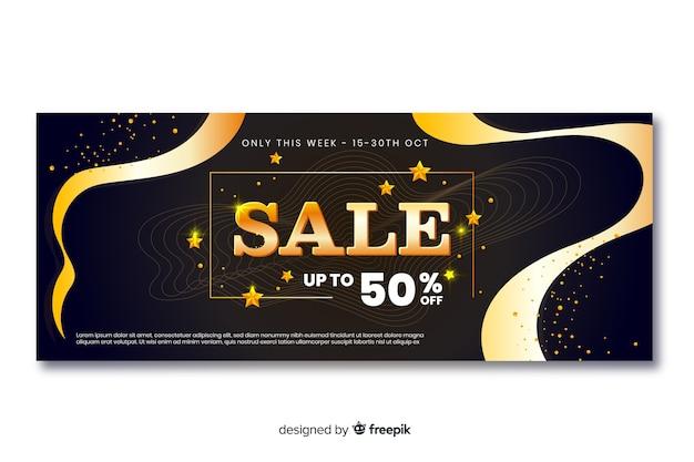 Banner di vendita d'oro con linee d'onda Vettore gratuito