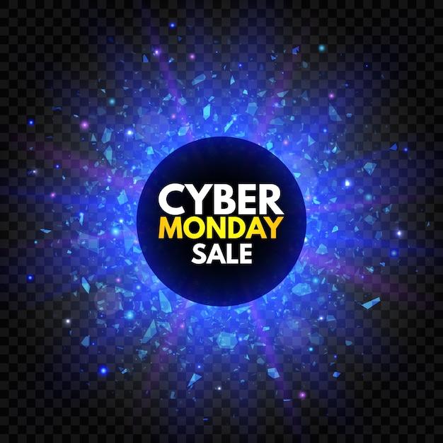 Banner di vendita del cyber monday con stella scintillante e luce di esplosione. insegna luminosa blu e viola, pubblicità notturna. vendita annuale. promozione di buoni affari. Vettore Premium