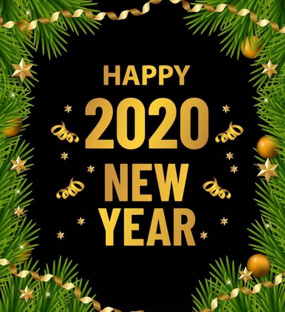 Banner di vendita di buon natale e felice anno nuovo. bordo dell'albero di natale con decorazioni dorate. volantino di businnes Vettore Premium