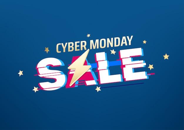 Banner di vendita di cyber lunedì. Vettore Premium