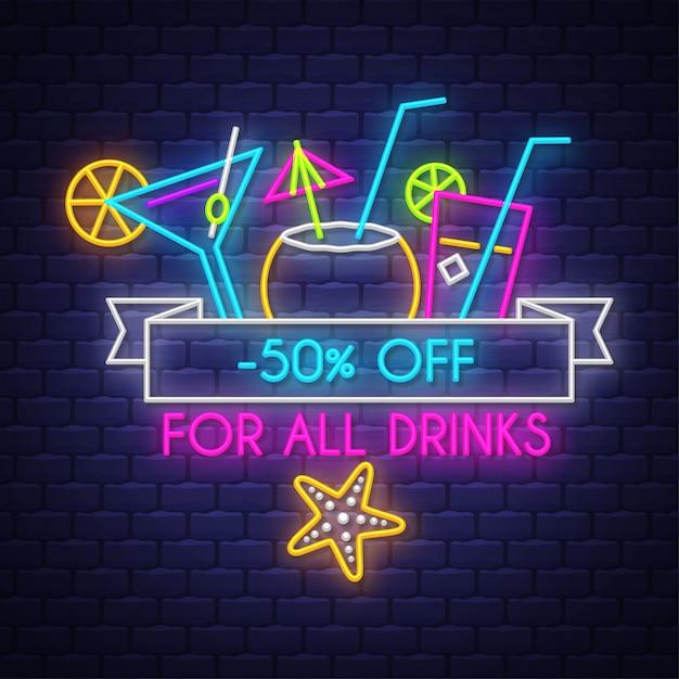 Banner di vendita di estate per bevande. insegna al neon Vettore Premium