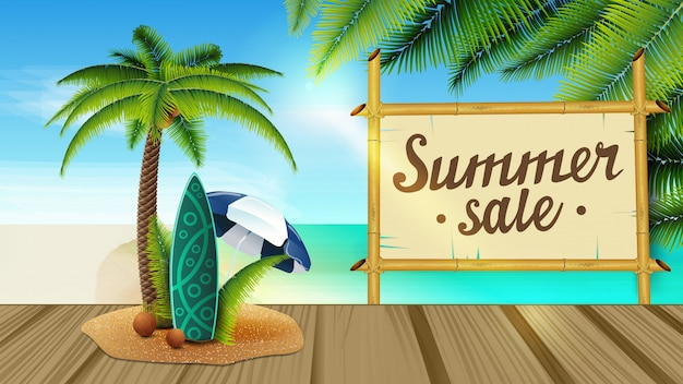 Banner di vendita di estate Vettore Premium