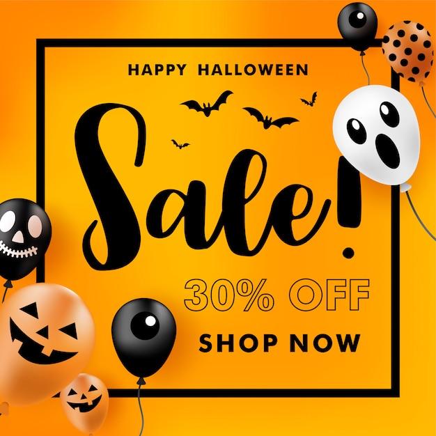 Banner di vendita di halloween con palloncini fantasma. illustrazione vettoriale Vettore Premium