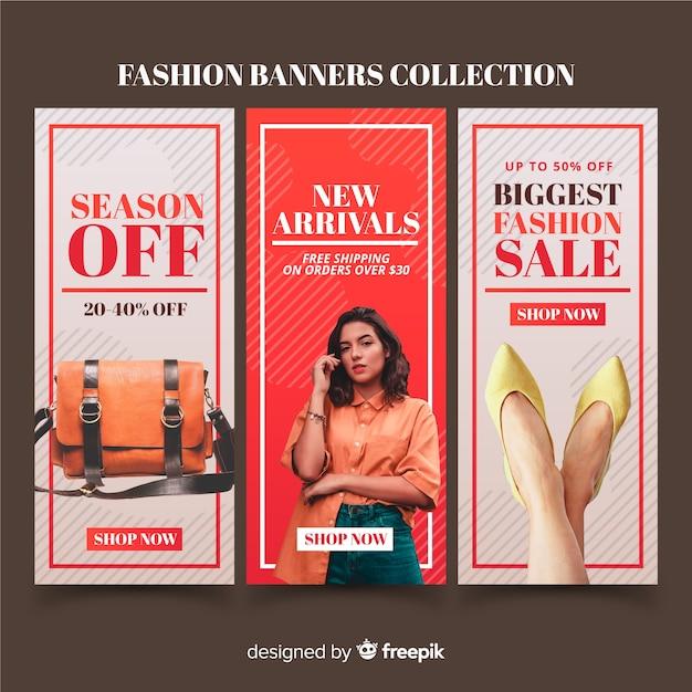Banner di vendita di moda Vettore gratuito