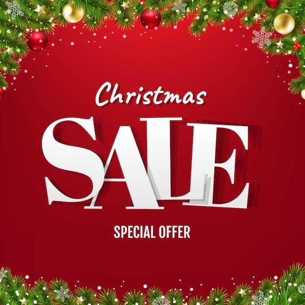 Banner di vendita di natale con albero di natale Vettore Premium