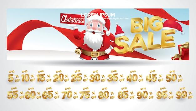 Banner di vendita di natale con tag sconto 10,20,30,40,50,60,70,80,90,99 percento Vettore Premium