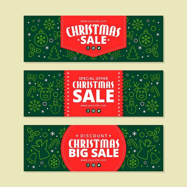 Banner di vendita di natale in design piatto Vettore gratuito
