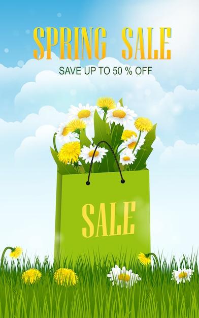 Banner di vendita di primavera con campo Vettore Premium