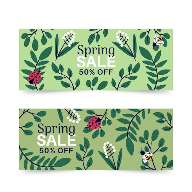 Banner di vendita di primavera con coccinella Vettore gratuito