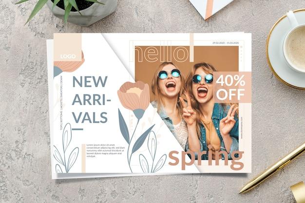Banner di vendita di primavera con nuovi arrivi Vettore gratuito