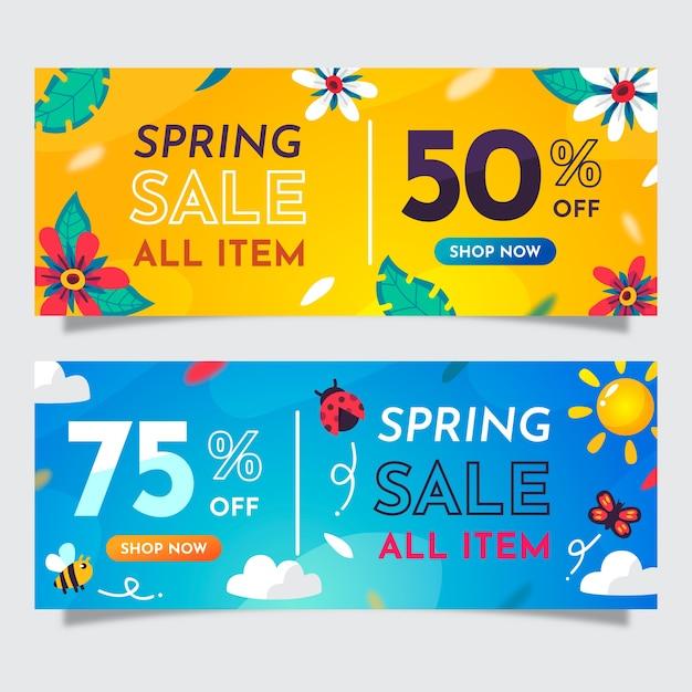 Banner di vendita di primavera design piatto Vettore gratuito