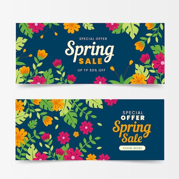 Banner di vendita di primavera in design piatto Vettore gratuito
