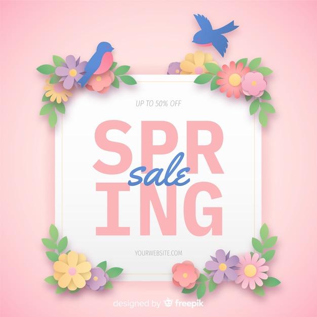 Banner di vendita di primavera Vettore gratuito