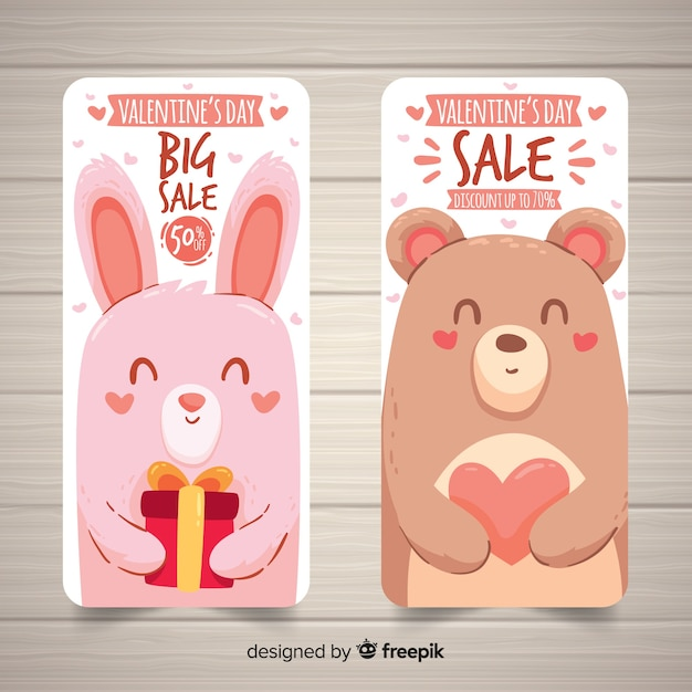 Banner di vendita di san valentino animali Vettore gratuito