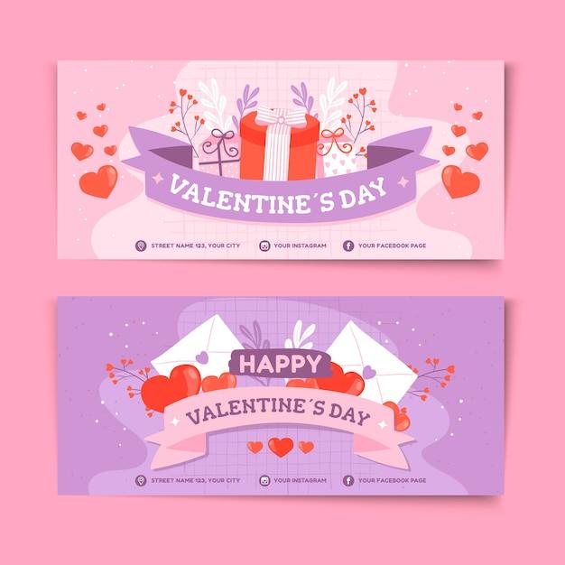 Banner di vendita di san valentino disegnati a mano Vettore gratuito