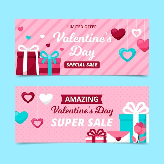 Banner di vendita di san valentino in design piatto con regali Vettore gratuito