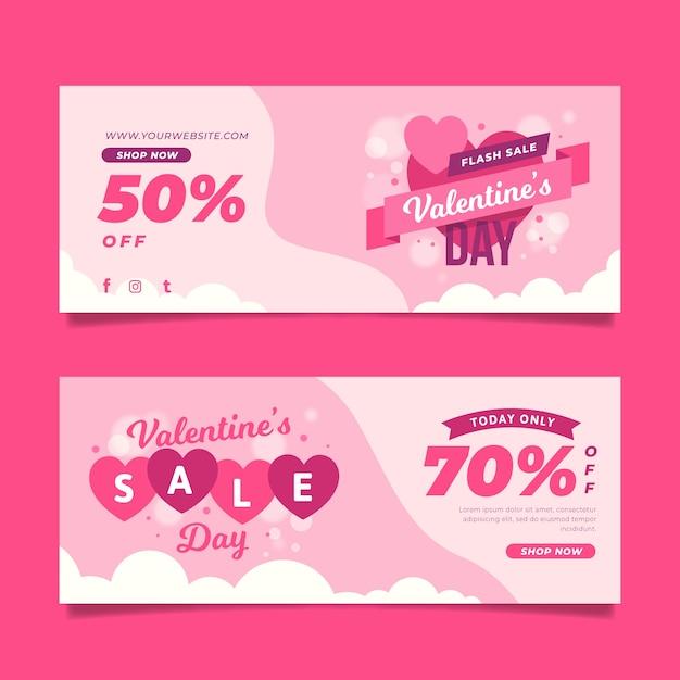 Banner di vendita di san valentino in design piatto Vettore gratuito