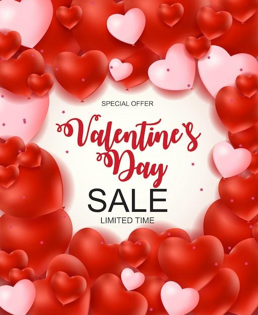 Banner di vendita di san valentino Vettore Premium