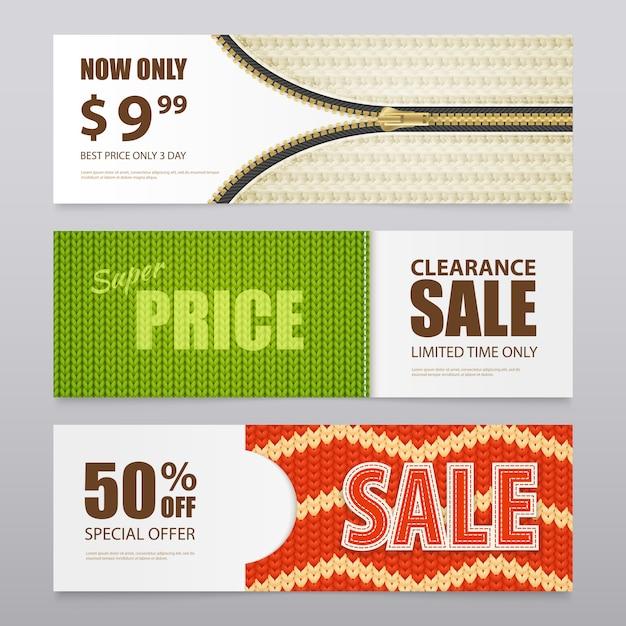 Banner di vendita di texture a maglia realistica Vettore gratuito