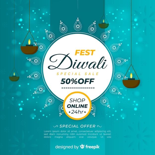 Banner di vendita diwali in design piatto Vettore gratuito