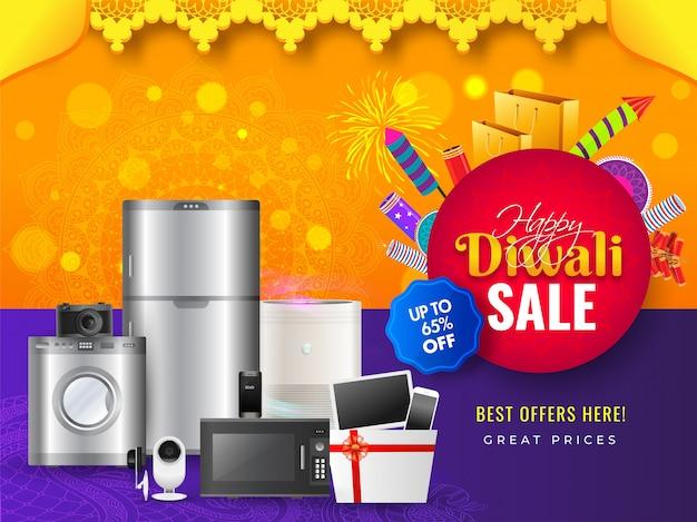 Banner di vendita diwali Vettore Premium