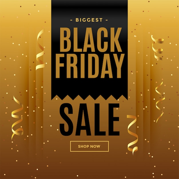 Banner di vendita dorato venerdì nero in stile celebrazione Vettore gratuito